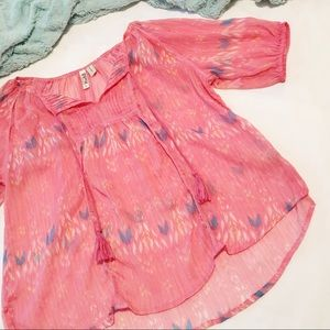 Mudd Semi-sheer Pink Top Size Large